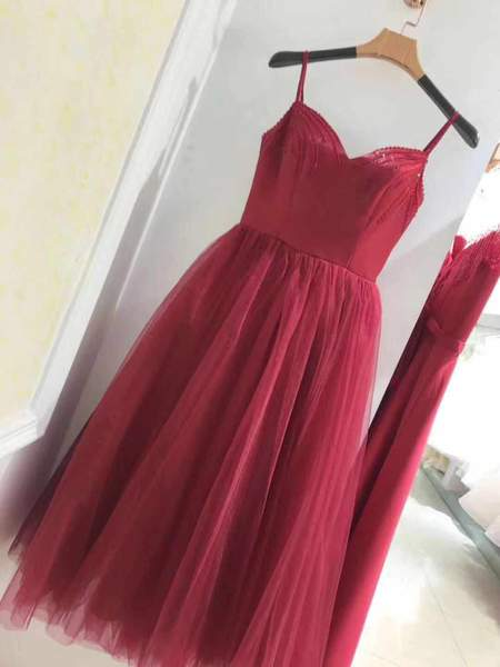 Wine Red Tea Length Sweetheart Straps Wedding Party Dress, Beautiful Formal Gowns,B0615