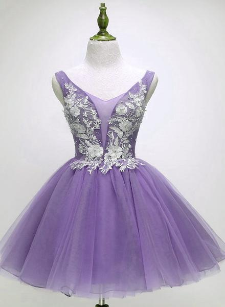 Beautiful Light Purple Tulle Short Party Dresses 2019, Formal Dresses 2019,B0617