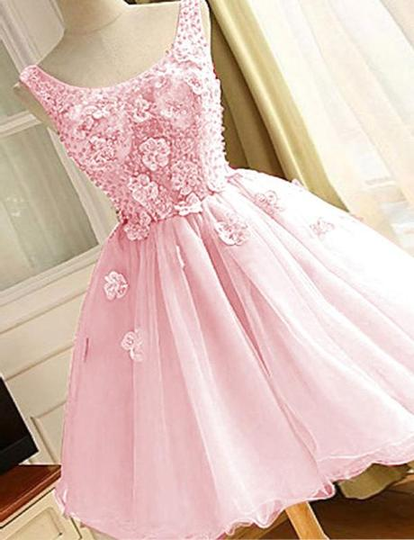 Pink Organza Beaded With Flowers Homecoming Dresses, Cute Round Short Party Dress,B0623