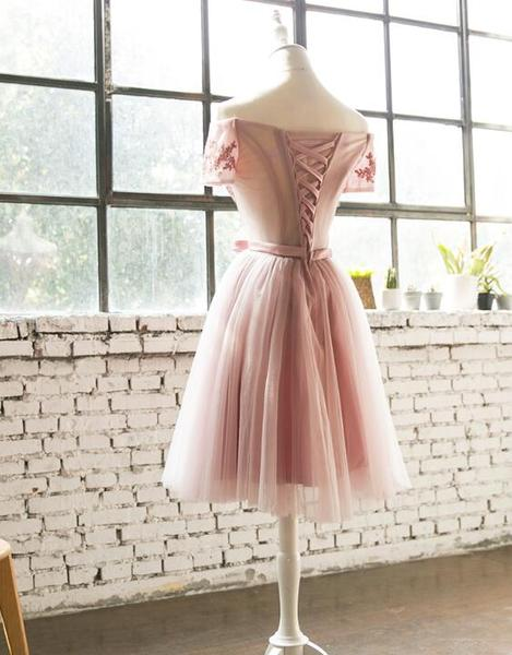 Dark Pink Off Shoulder Knee Length Bridesmaid Dresses, Cute Wedding Party Dresses,B0624