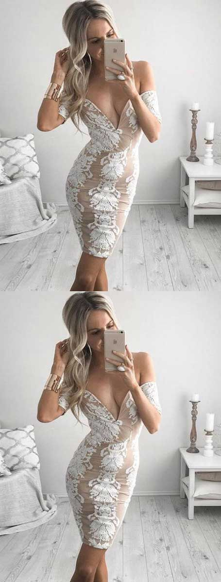 Tight Off-the-Shoulder Short Chiffon Homecoming Cocktail Dress with Appliques,B0629