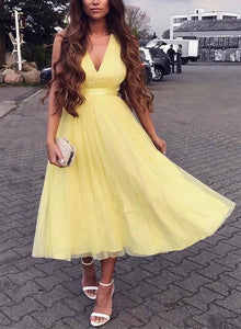 Charming A-Line V-Neck Yellow Tulle Criss Cross Homecoming/Prom Dress,B0634