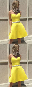 A-Line Sweetheart Short Yellow Satin Homecoming Prom Dress with Beading,B0637