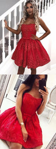 A-Line Sweetheart Red Lace Homecoming Prom Dress ,B0638