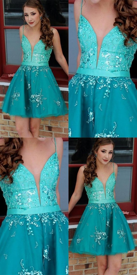 A-Line Spaghetti Straps Turquoise Homecoming Prom Dress with Beading,B0639
