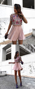 A-Line Jewel Short Blush Chiffon Homecoming Party Dress with Sequins Beading,B0642