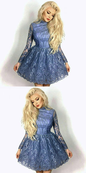 A-Line Jewel Blue Lace Homecoming Prom Dress,B0643