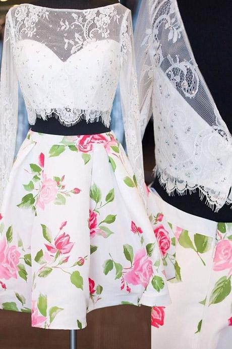 Two-piece Bateau Long Sleeves Above-knee Floral Print Satin White Lace Homecoming Dress With Beading,B0648