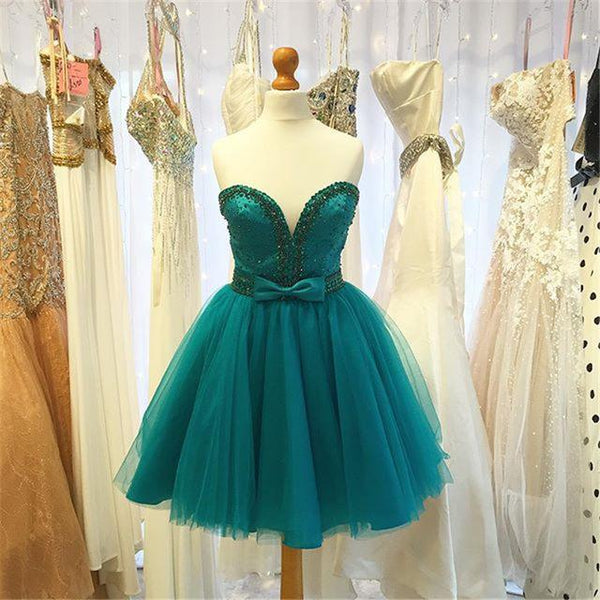 Homecoming Dress,Sweetheart Sleeveless Beaded Prom Dress Backless Bow Sleeveless Short Prom Party Dress,B0649