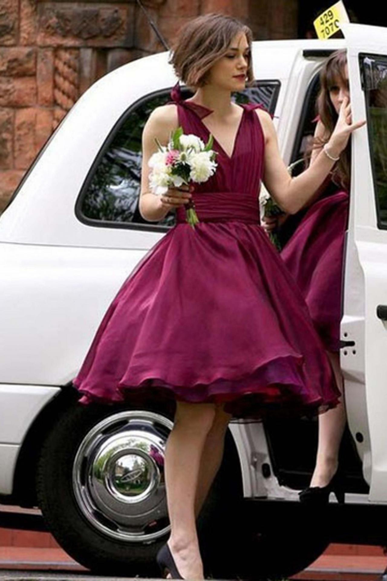 homecoming dresses,A-line short dresses, cheap knee-length bridesmaid dress ,party dress,B0651