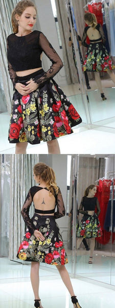 Two Piece Homecoming Dresses Little Black Dress Floral Print Short Prom Dress Party Dress ,B0653