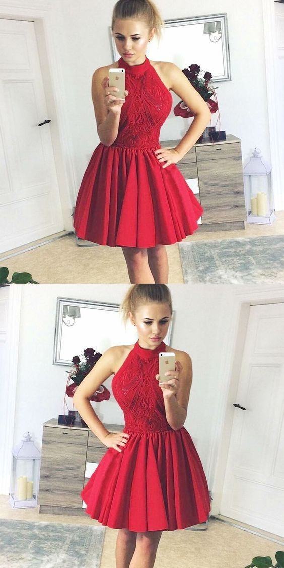 A-Line Halter Backless Red Satin Homecoming Dress with Lace,B0661