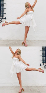 A-Line Strapless White Chiffon Homecoming Dress with Lace ,B0665