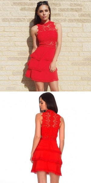 Sheath Jewel Tiered Red Homecoming Dress with Lace ,B0671