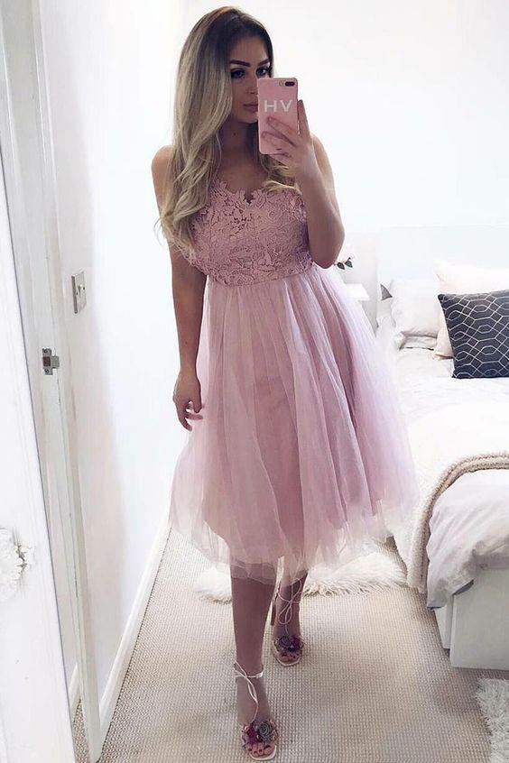 A-Line V-Neck Knee-Length Pink Tulle Homecoming Dress with Lace,B0680