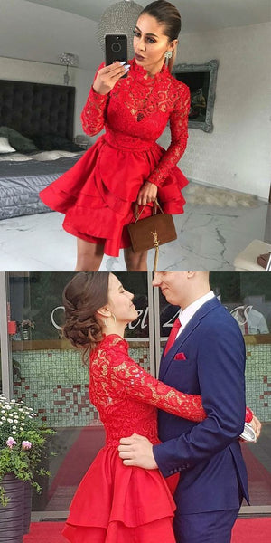 A-Line High Neck Long Sleeves Red Satin Homecoming Dress with Lace ,B0682