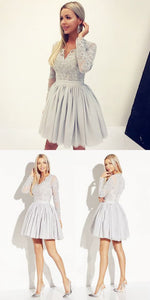 A-Line V-Neck Long Sleeves Grey Satin Homecoming Dress with Lace,B0687