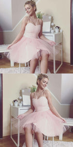 A-Line Spaghetti Straps Pearl Pink Tulle Homecoming Dress ,B0691