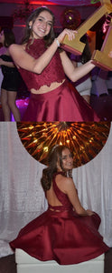 Burgundy A Line High Neck Lace Crop Satin Homecoming Dresses Two Piece Prom Gowns,B0692