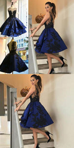A-Line Crew Knee-Length Backless Royal Blue Satin Homecoming Dress with Appliques,B0695