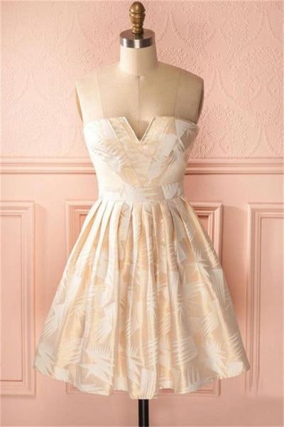 Vintage Cute Short Strapless Homecoming Dresses Cocktail Dresses ,B0709