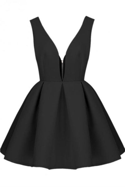 Black Short V-neck Simple Cheap Homecoming Dresses Party Dresses,B0711