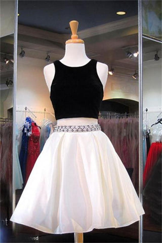 2 Pieces Elegant Black Simple Cheap A-line Backless Homecoming Dresses,B0715