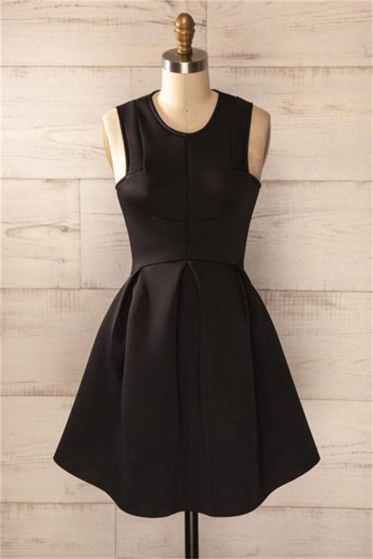 Modest Simple Black Cocktail Dresses Short Classy Homecoming Dresses,B0716