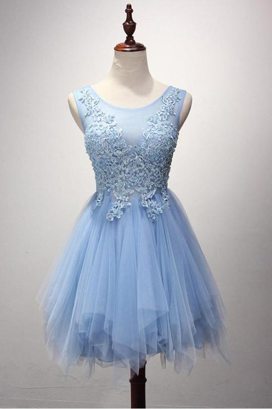 Beautiful Cute Zipper Back Light Blue Lace Tulle Short Homecoming Dresses ,B0720