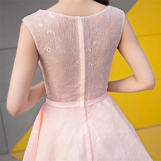 Cute Pink Zipper Back Short Lace Beading A-line Homecoming Dresses ,B0724