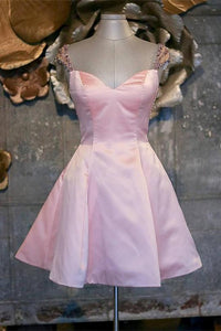 Girly Short Pink Beading Satin A-line Tight Homecoming Dresses For Teens,B0727