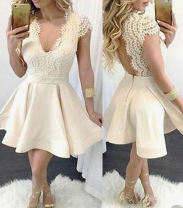 V Neck Short Homecoming Dress With Lace For Women,B0733