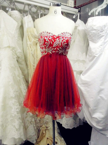 Sweetheart Red Short Homecoming Dress With Embroidery,B0734