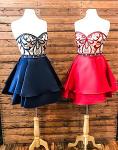 SWEETHEART RED/NAVY BLUE HOMECOMING DRESSES WITH APPLIQUES,B0735