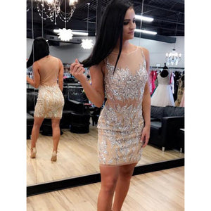 Sweetheart/Illusion Neck Sleeveless Shiny Homecoming Dresses ,B0747