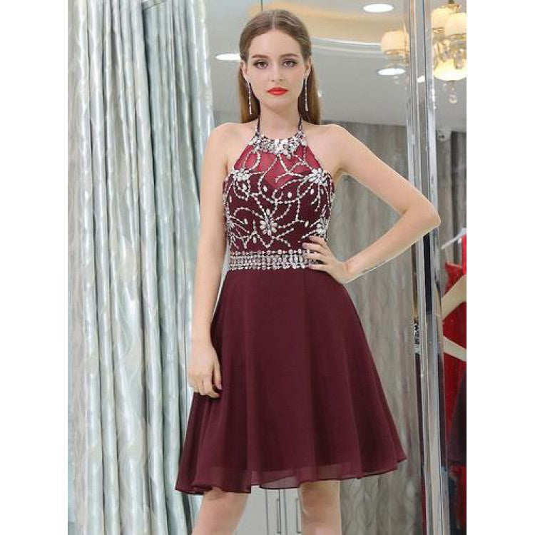 A-line Halter Neck Rhinestone Homecoming Dresses Illusion Neck Dresses,B0750