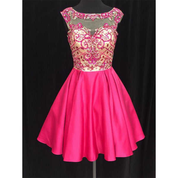 A-line Princess Jewel Illusion Rhinestone Homecoming Dresses ,B0752