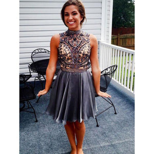 High Neck HoHcoming Dresses, Sleeveless Homecoming Dresses, A-Line Homecoming Dresses, Open Back Homecoming Dresses ,B0754
