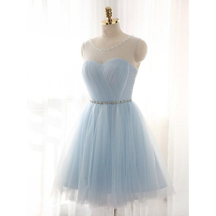 Custom Made Sleeveless Dresses Short Light Blue Homecoming Party Dresses With Bandage Lace Up Mini Nice Homecoming Dresses,B0759