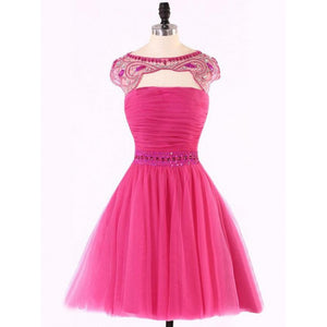 Custom Made Cap Sleeve Dresses Short Fuchsia Homecoming Prom Dresses With Rhinestone Open-back Mini Fetching Homecoming Dresses ,B0760