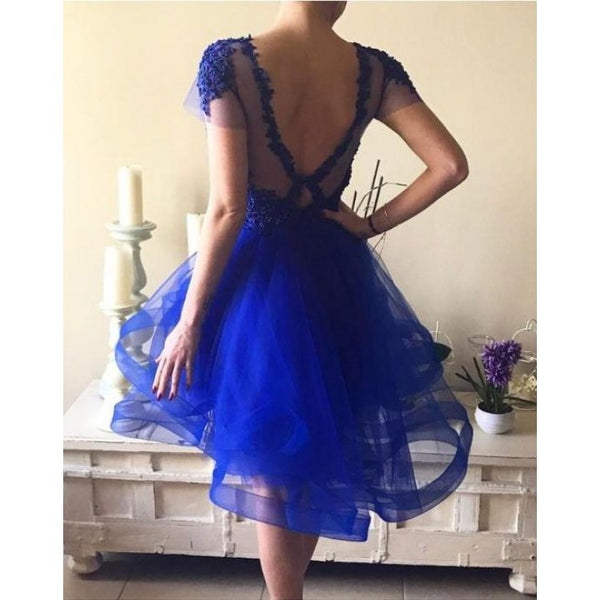 Custom Made Short Sleeve Dresses Short Royal Blue Homecoming Prom Dresses With Applique Backless Mini Appealing Prom Dresses,B0762