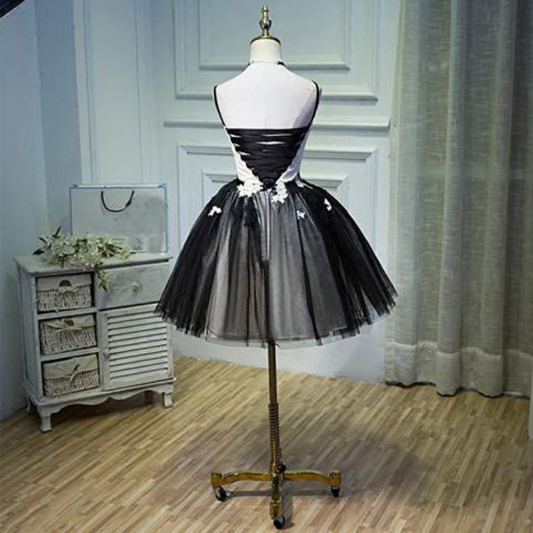 Custom Made Spaghetti Strap Dresses Short Black Prom Homecoming Dresses With Pleated Backless Mini Comfortable Prom Dresses,B0765