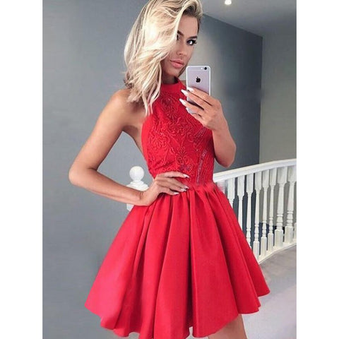 Customized Sleeveless Dresses Short Red Prom Homecoming Dresses With Pleated Backless Mini Suitable Prom Dresses,B0767