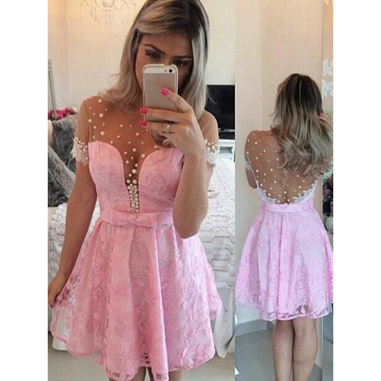 Sale Short Sleeve Dresses Short Pink Prom Homecoming Dresses With Lace Side Zipper Mini Fetching Homecoming Dresses ,B0771