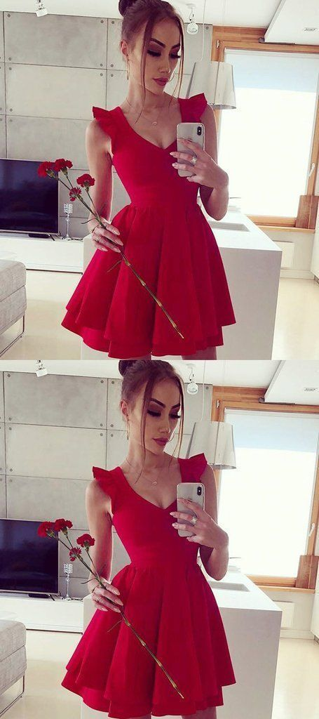 Cute Red Mini Cocktail Dress, Red Satin Prom Dress, Short Prom Gowns,B0772