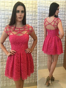 sexy Mini Lace Cocktail Dress, Above Knee Party Dress, Short Prom Dress,B0775