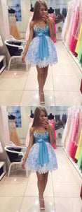 Blue Lace Pearls Mini Cocktail Dress, Blue Short Prom Dress,B0776