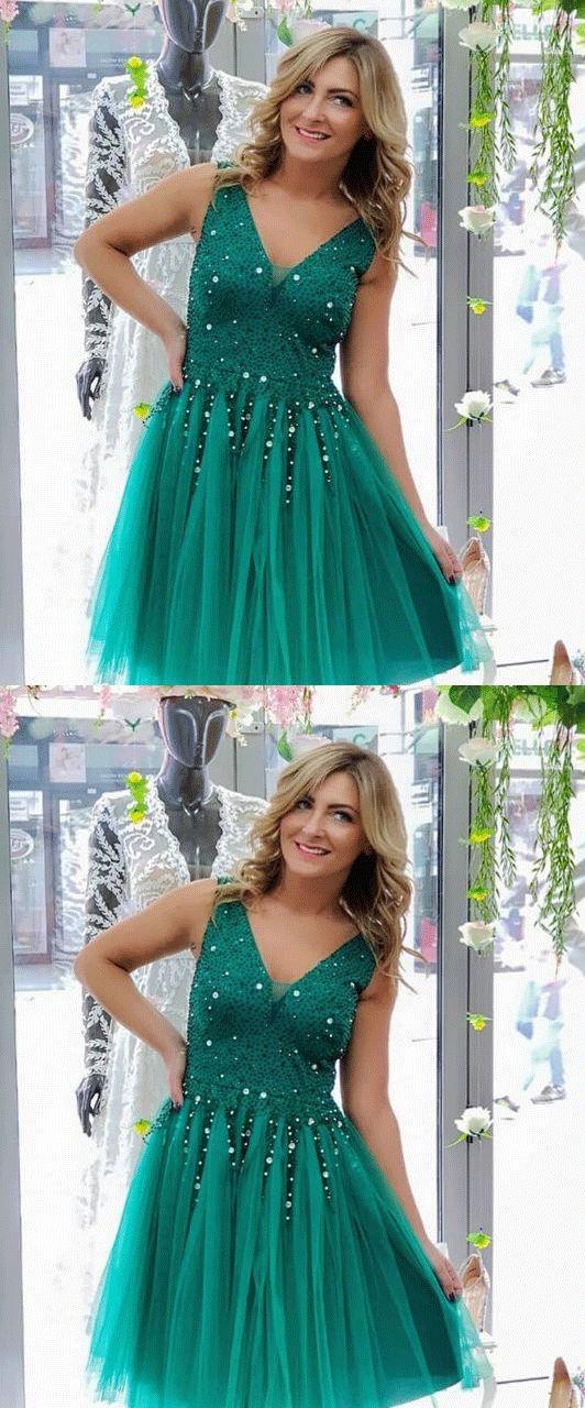 Pretty Turquoise Tulle Beaded Short Prom Dress, Elegant Homecoming Dress,B0777