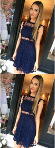 Navy Blue Lace Mini Prom Dress, Short Homecoming Dress, Pretty Party Dress,B0778