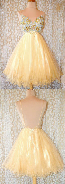 Pretty Spaghetti Straps Tulle Crystal Short Prom Dress, Open Back Party Dress,B0781